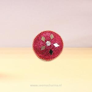 Roze sindoorbox met glitters
